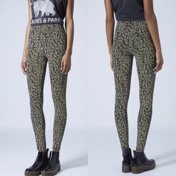 cb2db01efa17 Topshop Pants | Petite Leopard Print Glitter Leggings Gold | Poshmark